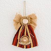 Cotton and palm wall hanging, 'Hope Arrives' - Colorful Cotton and Woven Palm Angel Wall Hanging