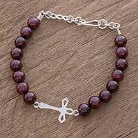 Garnet beaded pendant bracelet, 'Reverence' - Handcrafted Garnet Beaded Bracelet with Cross Pendant