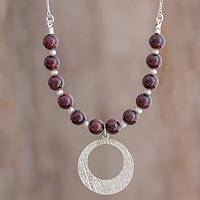 Garnet and cultured pearl pendant necklace, 'Sweetest Desire' - Garnet and Pearl Beaded Pendant Necklace from Guatemala