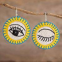 Cotton dangle earrings, 'Wink in Yellow' - Round Cotton Hand Embroidered Winking Eye Dangle Earrings