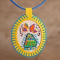 Cotton pendant necklace, 'Color Eruption' - Colorful Erupting Volcano Hand Embroidered Pendant Necklace
