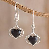 Jade dangle earrings, 'Love Fantasy in Black' - Heart Jade Dangle Earrings in Black from Guatemala