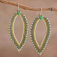 Beaded dangle earrings, 'River Leaf' - Green and Ivory Leaf-Shaped Beaded Dangle Earrings