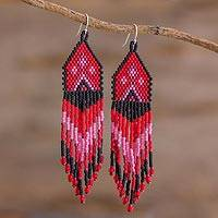 Beaded waterfall earrings, 'Peaks and Valleys in Red' - Red, Pink and Black Woven Bead Waterfall Earrings