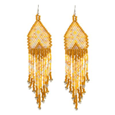 Shades of Yellow Woven Bead Waterfall Earrings