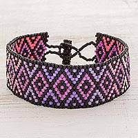 Beaded wristband bracelet, 'Ombre Diamonds' - Purple and Pink Geometric Woven Bead Wristband Bracelet