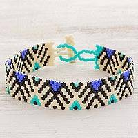 Beaded wristband bracelet, 'Twilight Mountains' - Blue and Black Geometric Woven Bead Wristband Bracelet