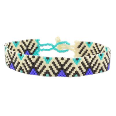 Blue and Black Geometric Woven Bead Wristband Bracelet