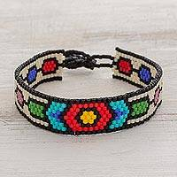 Beaded wristband bracelet, 'Rainbow Chain' - Handcrafted Multi-Color Geometric Beaded Wristband Bracelet