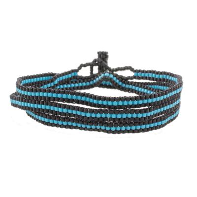 Fair Trade Blue and Black Striped Beaded Wrap Bracelet