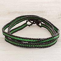 Beaded wrap bracelet, 'Field Stripes' - Boho Green and Black Striped Hand Beaded Wrap Bracelet