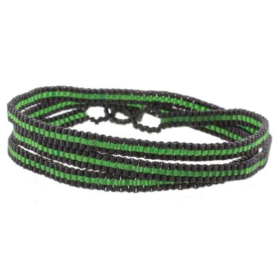 Boho Green and Black Striped Hand Beaded Wrap Bracelet