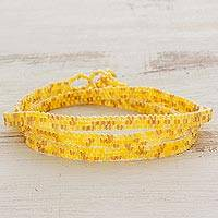 Beaded wrap bracelet, 'Golden Snakeskin' - Shades of Yellow Beaded Wrap Bracelet from El Salvador