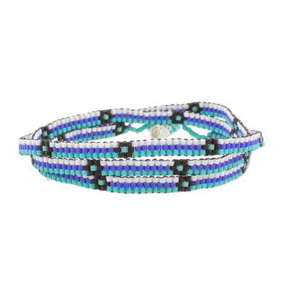 Blue and Black Flower and Stripes Beaded Wrap Bracelet
