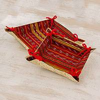 Palm leaf catchall trays, 'Colorful Celebration' (pair) - Handcrafted Guatemalan Palm Leaf Catchall Trays (Pair)