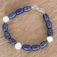 Lapis lazuli and sterling silver beaded bracelet, 'Moonlit Night' - Guatemalan Lapis Lazuli and Sterling Silver Beaded Bracelet