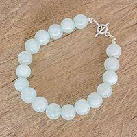 Jade beaded bracelet, 'Spheres of Ice' - Ice Jade Beaded Bracelet with Sterling Silver Clasp
