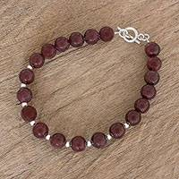 Garnet and sterling silver beaded bracelet, 'Wink of Light' - Garnet and Sterling Silver Beaded Bracelet from Guatemala