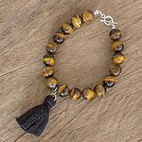 Tiger's eye beaded charm bracelet, 'Elegant Melange' - Tiger's Eye Beaded Bracelet with Cotton Tassel Charm