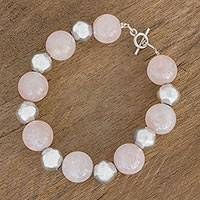 Rose quartz and sterling silver beaded bracelet, 'Love Yourself' - Guatemalan Rose Quartz and Sterling Silver Beaded Bracelet