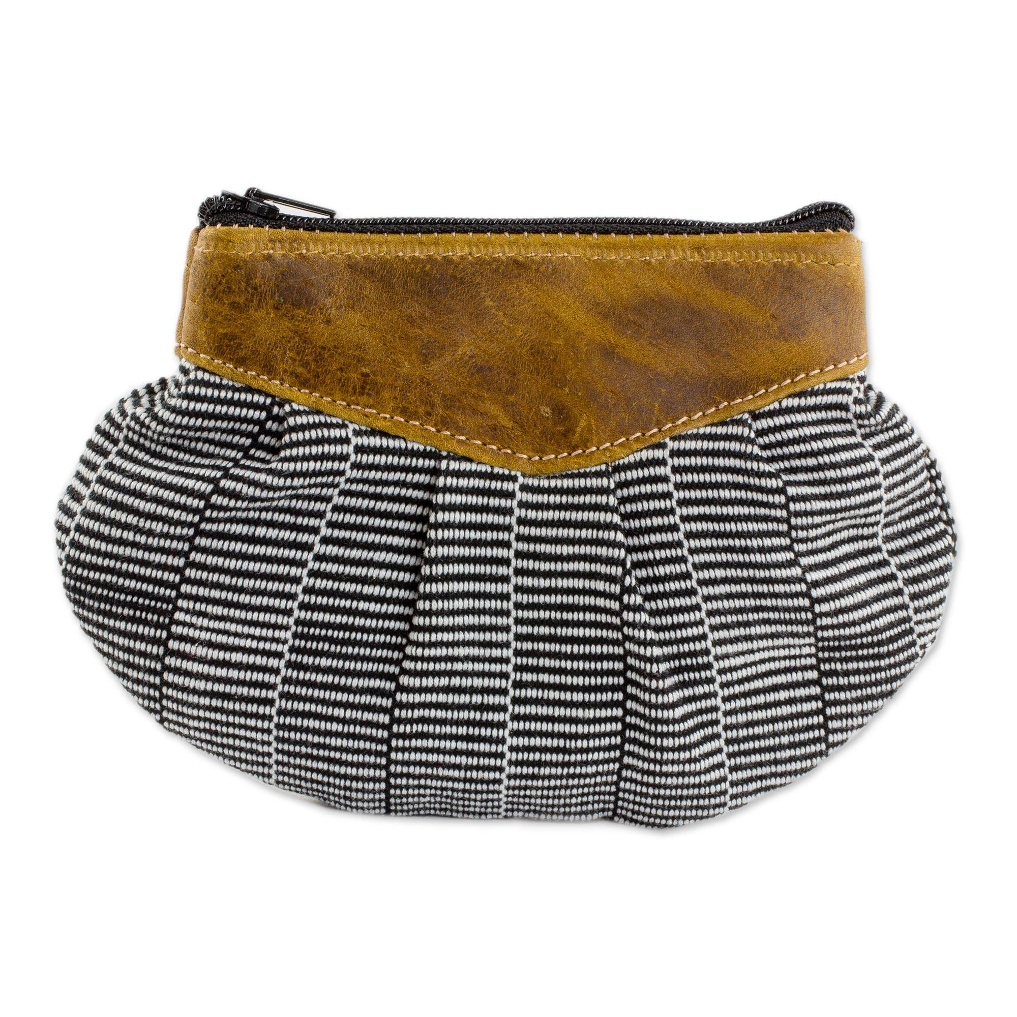 Novica Leather-accented cotton clutch handbag, Modern Mocha