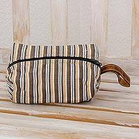 Cotton cosmetic bag, 'Creme de Cacao' - Cream and Brown Striped Hand Woven Cotton Cosmetic Bag
