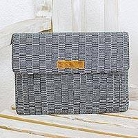 Leather accent cotton laptop case, 'Suave' - Black and White Striped Hand Woven Cotton Laptop Case