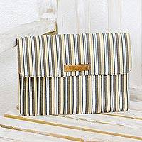 Leather accent cotton laptop case, 'Creme Caramel' - Cream and Brown Striped Hand Woven Cotton Laptop Case