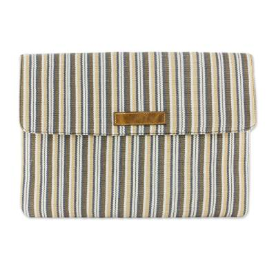 Novica Leather accent cotton laptop case, Creme Caramel