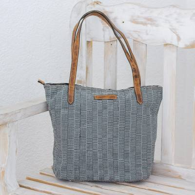 Leather-accented cotton tote bag, 'City Traveler' - Black and White Striped Hand Woven Cotton Tote Bag