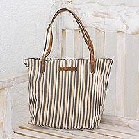 Leather-accented cotton tote bag, 'Modern Cafe' - Cream and Brown Striped Hand Woven Cotton Tote Bag