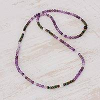 Multi-gemstone beaded necklace, 'Japa Mala Beauty' - Multi-Gemstone Long Beaded Necklace from Guatemala