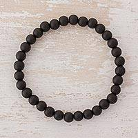 Onyx beaded stretch bracelet, 'Night Orbs' - Black Onyx Beaded Stretch Bracelet from Guatemala