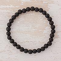 Onyx beaded stretch bracelet,