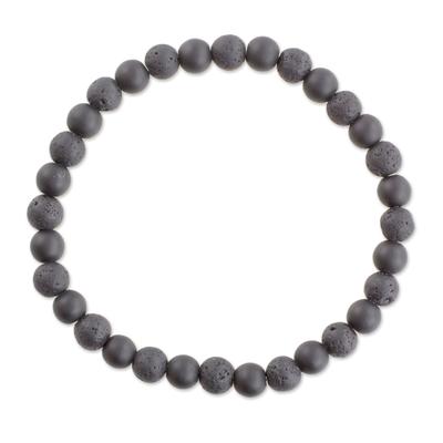 Guatemalan Black Onyx and Lava Stone Beaded Stretch Bracelet