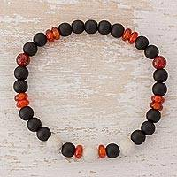 Multi-gemstone beaded stretch bracelet, 'Sky and Fire' - Onyx Agate and Jade Beaded Stretch Bracelet from Guatemala