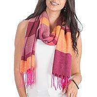 Rayon shawl, 'Tropical Morning' - Handwoven Orange and Pink Rayon Shawl from Guatemala