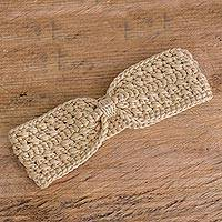 Hand-crocheted ear warmer, 'Lovely Warmth in Beige' - Hand-Crocheted Ear Warmer in Beige from Guatemala