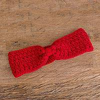 Hand-crocheted ear warmer, 'Lovely Warmth in Cherry' - Hand-Crocheted Ear Warmer in Cherry from Guatemala