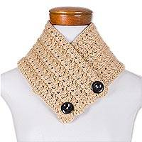 Hand-crocheted neckwarmer, 'Lovely Wrap in Beige' - Hand-Crocheted Neckwarmer in Beige from Guatemala
