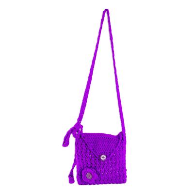Novica Wool sling bag, Charming Violet