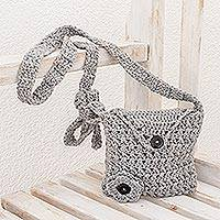 Hand-crocheted sling, 'Lovely Buttons in Dove Grey' - Hand-Crocheted Sling Handbag in Dove Grey from Guatemala