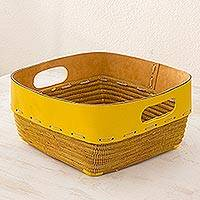 Leather and pine leaf decorative basket, 'Sunny Yellow' - Leather and Pine Leaf Decorative Basket from Nicaragua