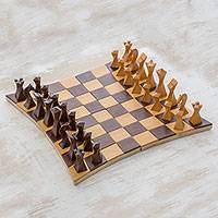 Wood chess set, 'Twisted Battle' - Tempisque and Salmwood Chess Set from Nicaragua