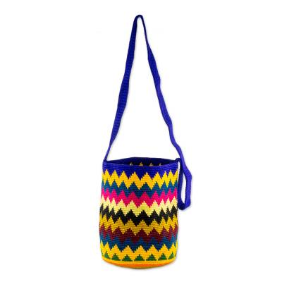 Novica Cotton bucket bag, Zigzag Colors