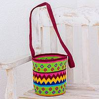 Crocheted cotton bucket bag, 'Pattern Bonanza' - Multi-Color and Multi-Patterned Hand Crocheted Bucket Bag