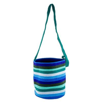 Blue and Green Striped Hand Crocheted Bucket Bag