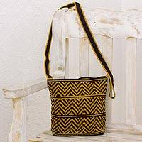 Crocheted cotton shoulder bag, 'Chevron Celebration in Amber' - Amber and Black Chevron Pattern Hand Crocheted Shoulder Bag