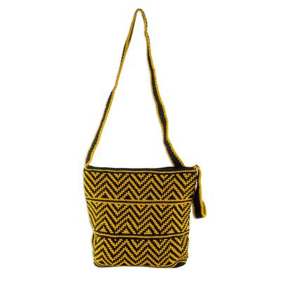Amber and Black Chevron Pattern Hand Crocheted Shoulder Bag