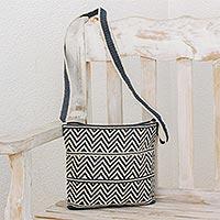 Novica Crocheted cotton shoulder bag, Chevron Celebration in Blue